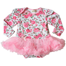 QUIKGROW 0~2 Year Stunning Floral Baby Girl Tutu Dress Long Sleeve Newborn Infant One-piece Outfits Ruffled Tulle Clothes NY23QZ