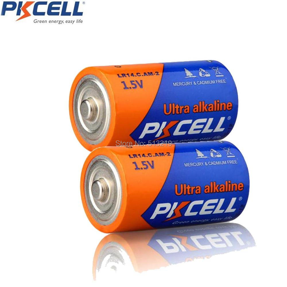 2Pcs/PKCELL AM-2 LR14 C MN1400 E93 1.5V C Alkaline Batteries For Flashlights Toys,Loudspeaker,Gas Cooker,Mircophone,Water Heater