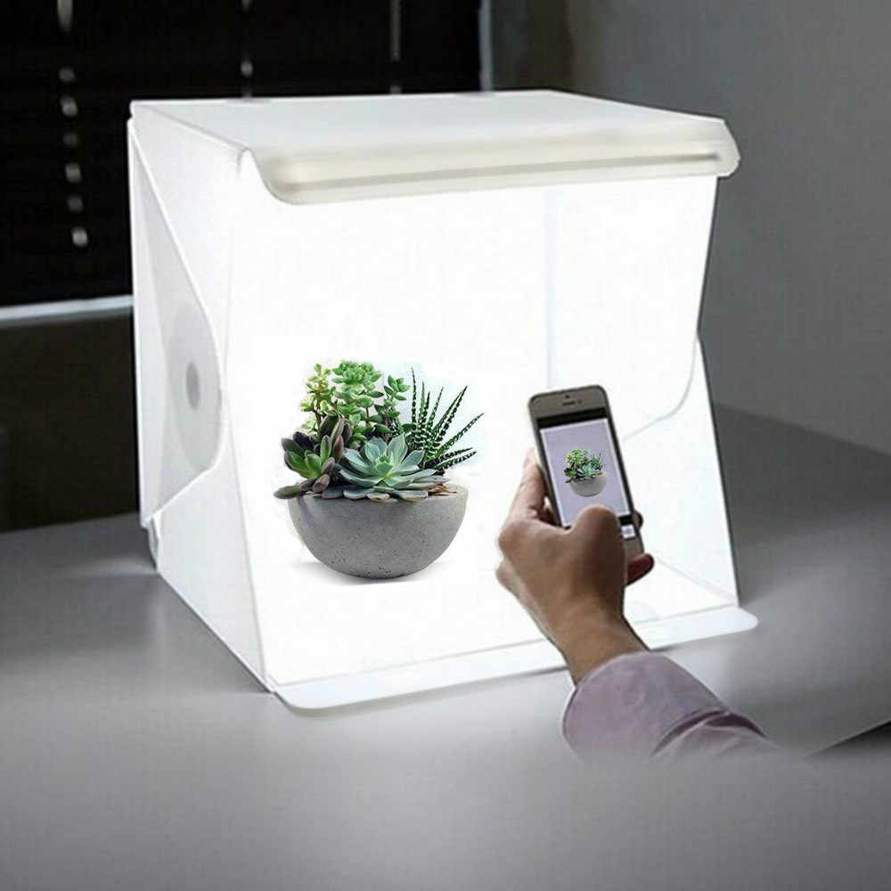 "Portable Folding 23cm/9"" Lightbox Photography LED Light Room Photo Studio Light Tent Soft Box Backdrops for Digital DSLR Camera"