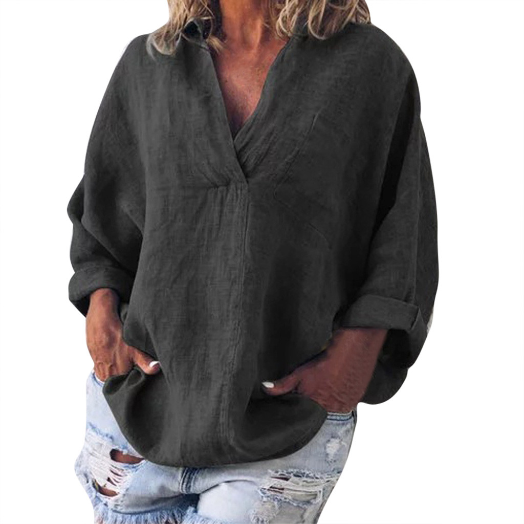 Fashion Solid Women   Blouses   Plus Size Boho Ladies Casual Linen V-Neck Loose Long Sleeve   Blouse     Shirts   blusas mujer de moda 2019