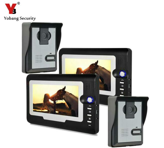 "Yobang Security Unlock IR Rainproof Cameras 7""LCD Screen Video Intercom Door Phone Doorbell Louder Speaker Door Intercom"
