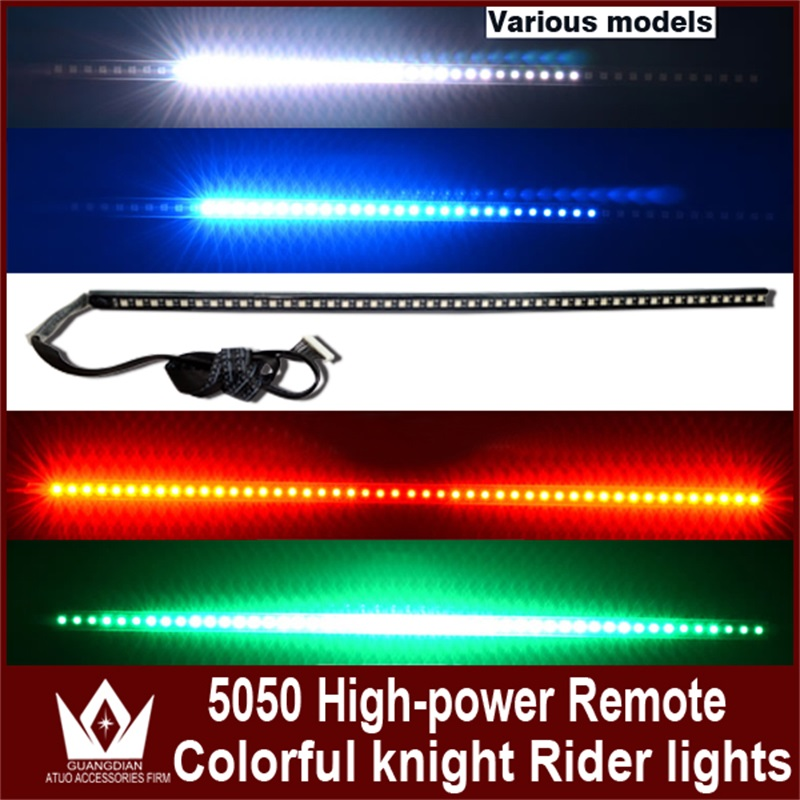 Tcart Auto LED Strip Scan Knight Rider Led Lights With Remote Control RGB Ranger Lights 147 model 54CM 5050 For Toyota Prodo RAV