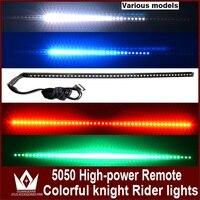 Tcart Auto Taśmy LED Knight Rider Skanowania Światła Led Z Pilotem Ranger sterowania RGB Światła 147 model 54 CM 5050 Dla Toyota Prodo RAV