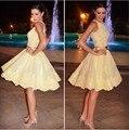 Elegante Sexy de Encaje Amarillo Vestidos de Coctel Cortos 2016 Del Partido de Coctail Prom Robe De Vestidos de Cóctel