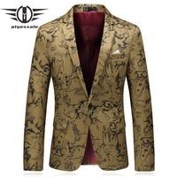 Plyesxale Mens Printed Blazers 2018 Spring Slim Fit Casual Suit Jacket Chinese Style Khaki Vintage Blazer Man Brand Clothing Q5