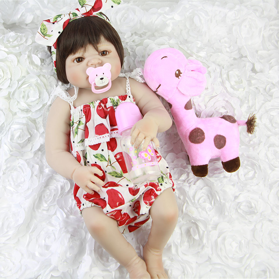 KEIUMI 23'' Baby Girl Doll Full Body Silicone Reborn Baby Dolls Lifelike Realistic 57cm Reborn Bebe Toy For Sale Kids Xmas Gifts new arrival 23 57cm baby girl doll full silicone body lifelike bebe reborn bonecas handmade baby toy for kids christmas gifts