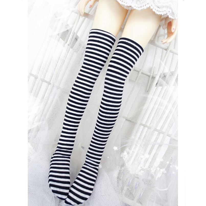 1 3 1 4 SD Bjd Stocking Doll Clothes Black and White Stripe Socks Elastic Stockings