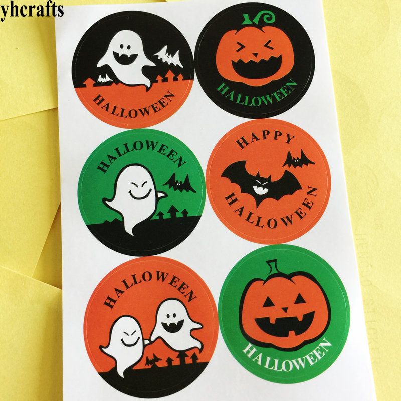 Pumpkin Ghost Bat Paper Sticker Bake Sealing Stickers Craft Material Diy Label Wall Fridge Outlet In From Toys Hobbies On