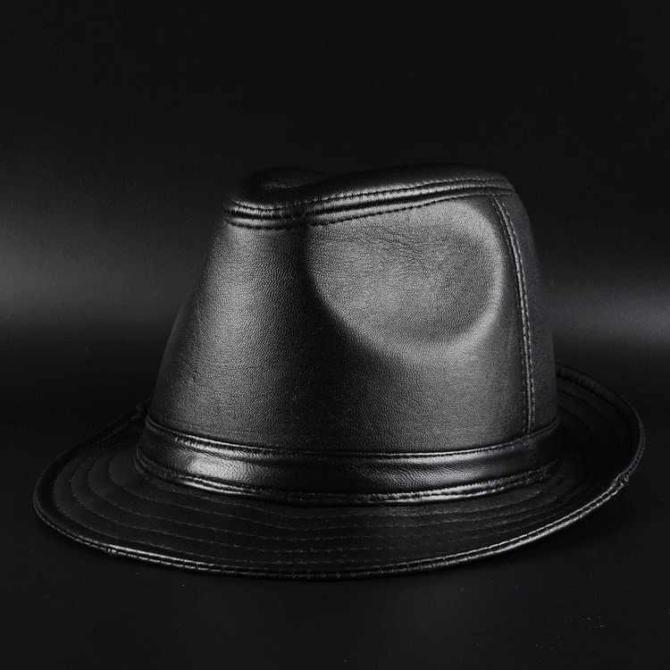Cuero genuino de la zalea de los hombres de alta calidad negro femenino  Fedora sombrero para d25ad6201c3