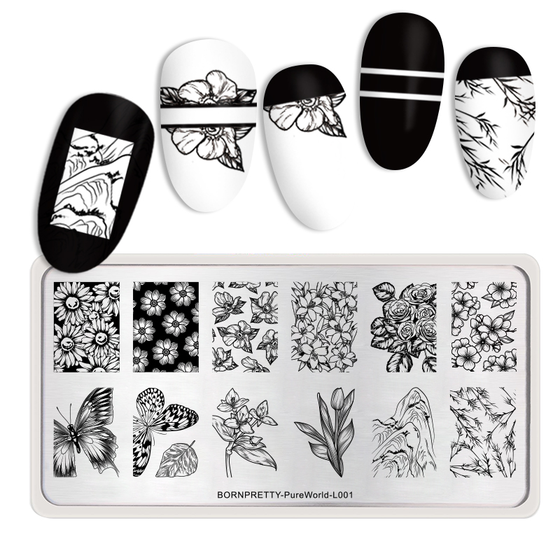 <font><b>BORN</b></font> <font><b>PRETTY</b></font> Rectangle Nail Stamping Plates Stainless Steel Flower Butterfly Design Nail Art Image DIY Plate Tools <font><b>L001</b></font> image