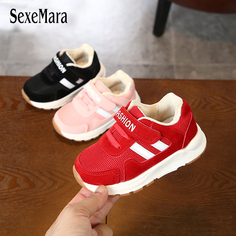 2018 Autumn Baby Sneakers Shoes Boys Black/red/pink Girls Shoes Breathable Children Running Shoes Kids Trainers Newborns B08133 new kids sport shoes running traveling hiking climbing basketball children sneakers cute boys girls black white pink breathable
