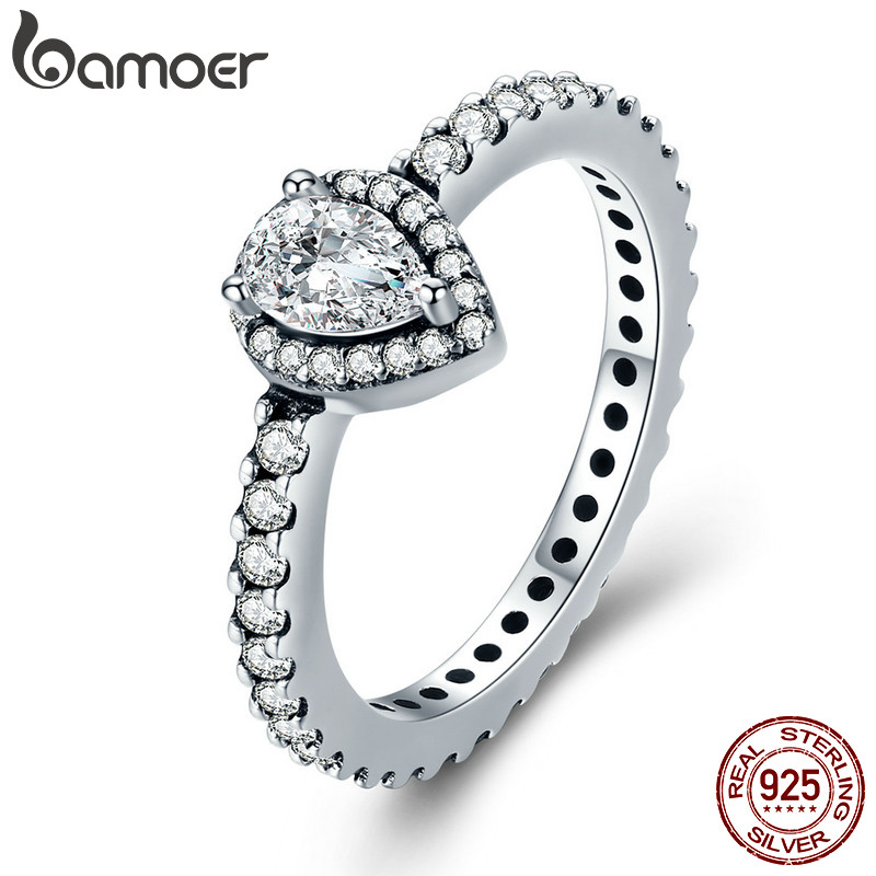 BAMOER Genuine 100% 925 Sterling Silver Radiant Teardrop Ring, Clear CZ Finger Rings for Women Wedding Engagement Jewelry PA7653 цена 2017