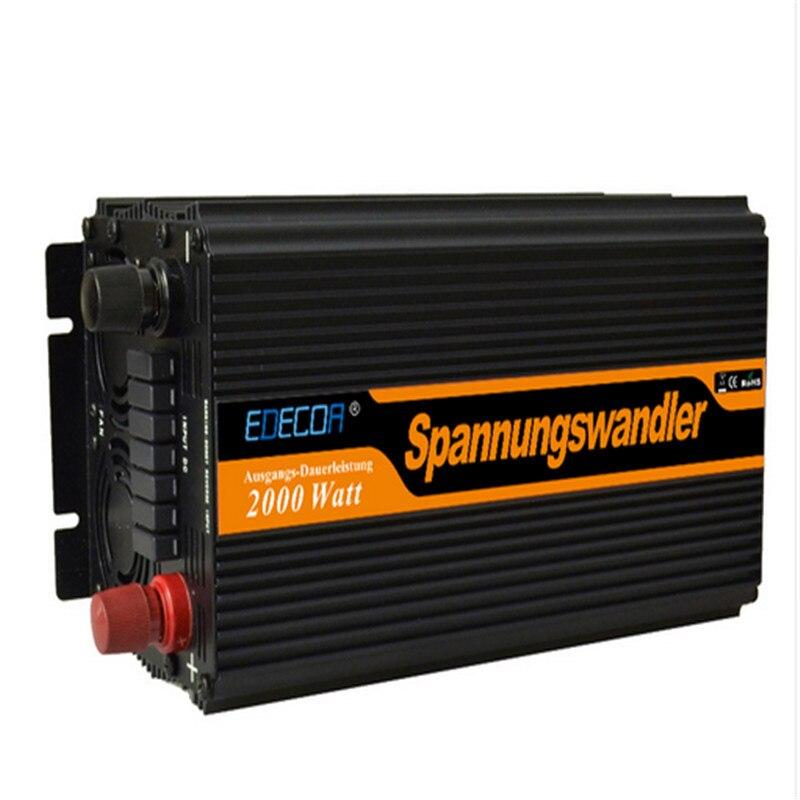 EDECOA livraison gratuite 2000 w onduleur 12 v 220 v 230 v 240 v puissance de crête 4000 w hors réseau modifié puissance d'onde sinusoïdale onduleur