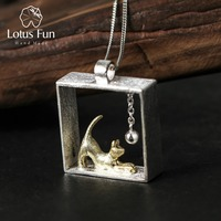 Lovely Cat Playing Balls Square Pendant Gold Filled Special Handmade Necklace Charm 925 Sterling Silver Pingente
