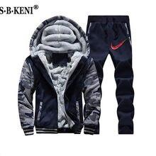 81807269f5b 2019 Фирменная Новинка для мужчин комплект модные зимние спортивные костюмы  толстые толстовки с подкладкой толстовка +
