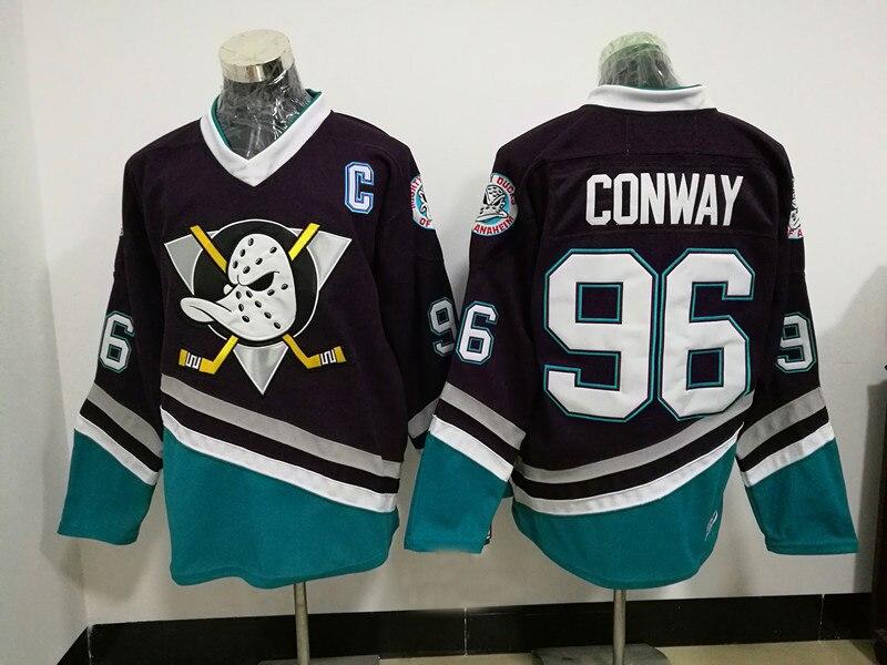 Mighty Ducks Jersey 96 Charlie Conway Genäht Männer Mighty Ducks Hockey Jersey Weiß Schwarz Throwback Hockey Jersey S-3XL