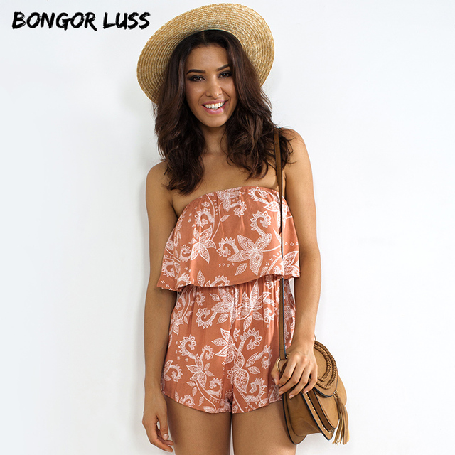 2e37f817eb32 BONGOR LUSS Bohemian Vintage Floral Print Beach Playsuit Strapless  Sleeveless Off Shoulder Sexy Rompers Womens Jumpsuit