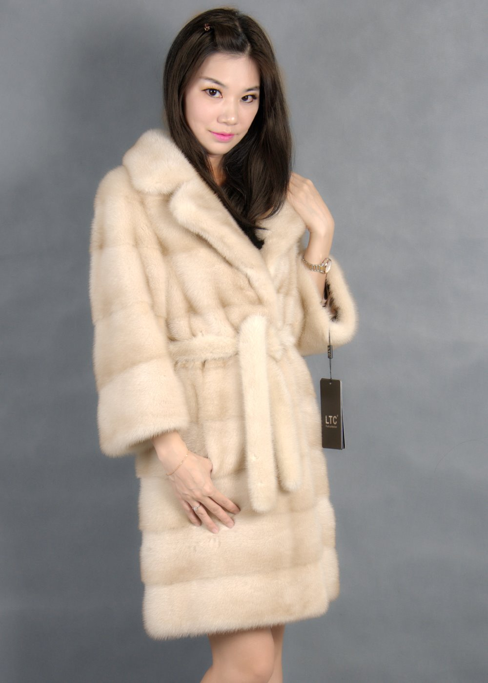 Mantel bulu mink asli dengan kerah turn-down warna terang 100% natural mink fur coa t2019