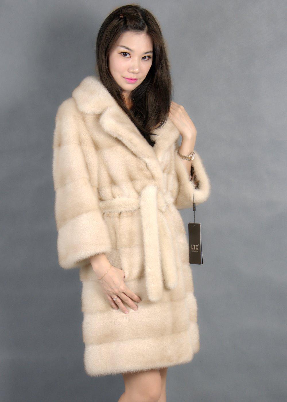 Genuine Mink Fur Coat With  Turn-down Collar Light Color 100% Natural Mink Fur Coa T2019