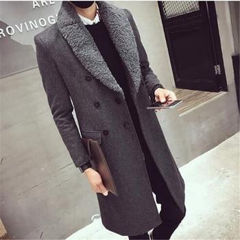 2018 Long Trench Coats Mens Fur Collar Long Coats Double Breasted Gabardina Mens Overcoat Slim Fit Woolen Winter Jacket Vintage