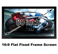 Nice Picture Flat Frame Fixed Screen 80 With Black Velevt Aluminum Self 16 To 9 Format For Private Cinema Room