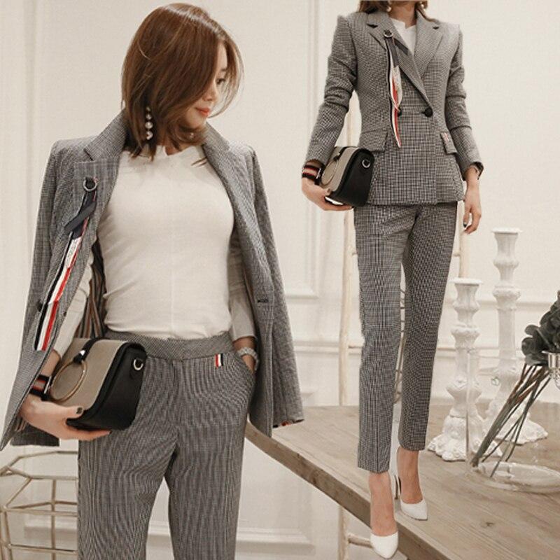 new fashion women pants suits slim work wear office ladies long sleeve lattice blazer pants set costumes for women with pants Брюки