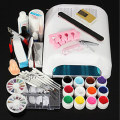 New Pro 36W UV GEL White Lamp & 12 Color UV Gel Nail Art Tools Sets
