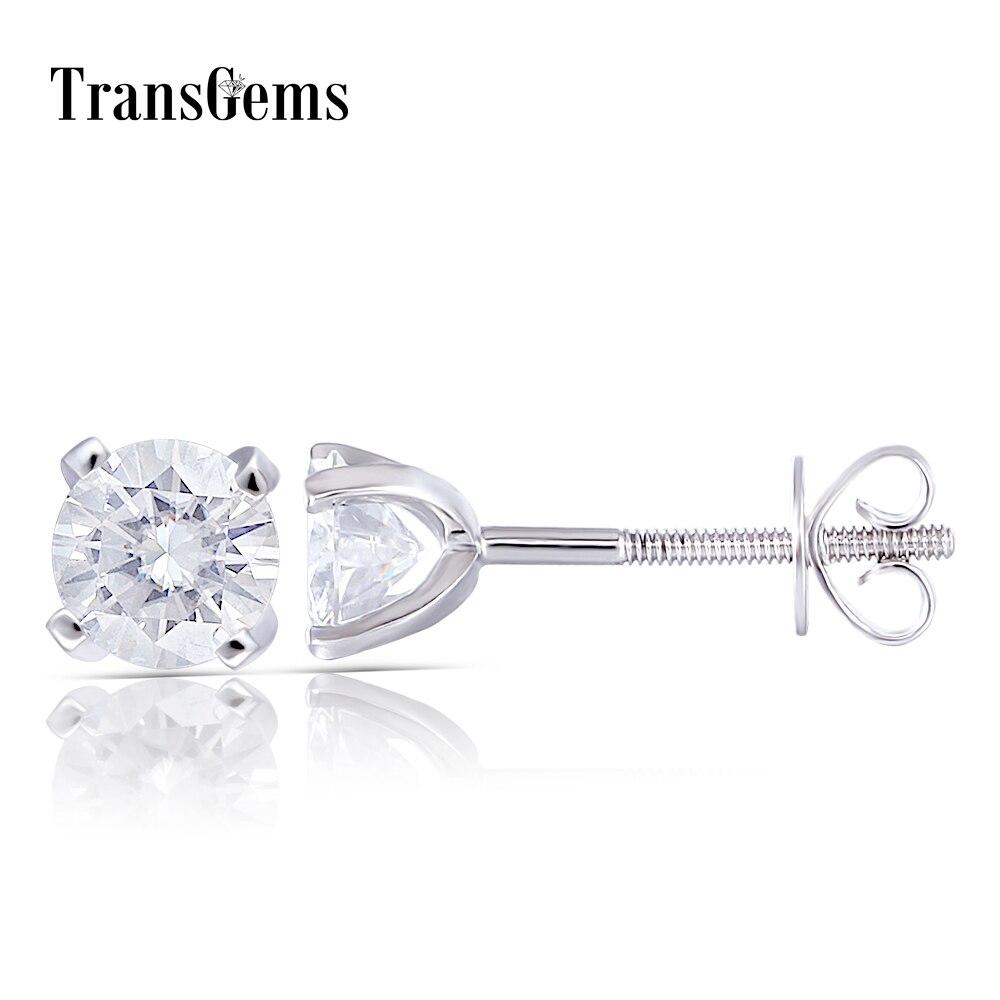 Transgems 14K 585 White Gold 1CTW 5mm 0 5 Carat Moissanite Diamond Stud Earrings For Women