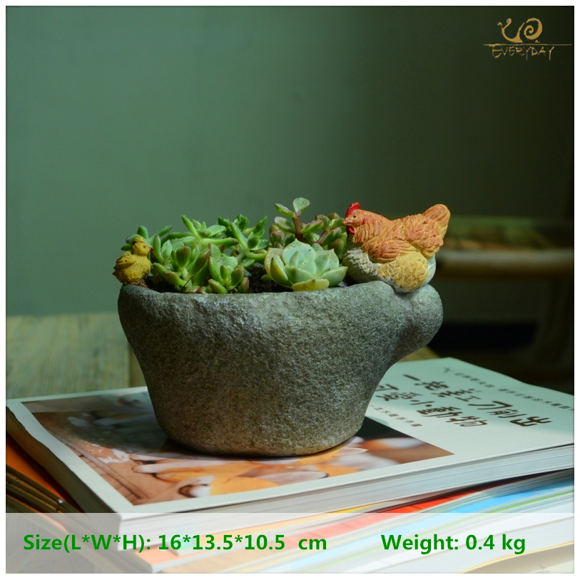 Everyday Collection Resin Hen Stone Basin Home Decoration Accessories Fairy Garden Decoration Flower Pots Decorated