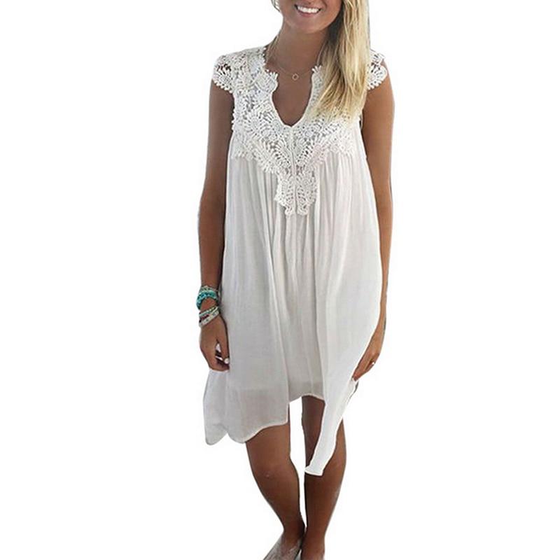 LASPERAL 2018 Fashion Chiffon Hollow Out Lace Dress Women Sleeveless Patchwork Mini Dresses Summer Beach Vestidos Plus Size 3xl