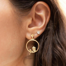 New Vintage Rose Crystal Earring For Women Gold Round Drop Dangle Geometric Jewelry gifts