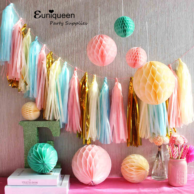 Tissue Paper Tassel Garland Bunting Wedding Decoration Paper Banner Bridal Baby Shower first birthday tropical theme party favor