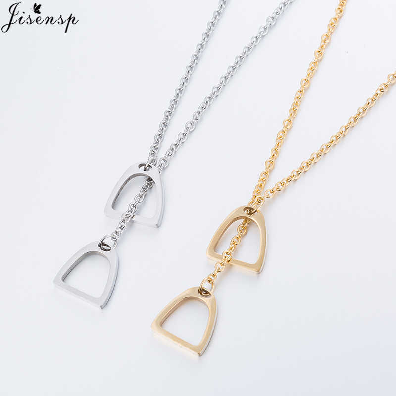 Jisensp New Multilayer Statement Necklaces Y Style Chain Horse Hoof Horseshoe Pendants Necklaces Unisex Jewelry For Men/ Women