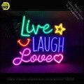 Enseigne au néon en direct rire amour enseigne au néon fabriqué à la main de vrais Tubes en verre LOGO personnalisé rétro Dropshippin lampes au néon|Ampoules et tubes néons| |  -