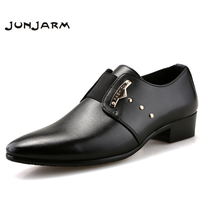 JUNJARM Brand Fashion Men Business Dress Loafers Pointy Black Shoes Oxfords Breathable Formal Wedding Shoes