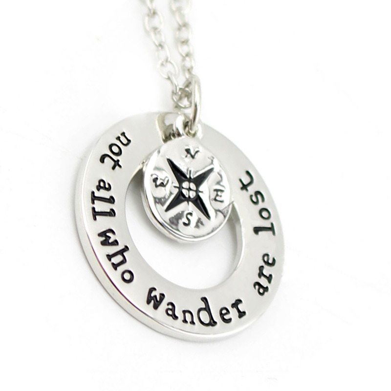 "Necklace: Hot Wanderlust handstampe Jewelry Travelers Necklace Wanderlust "" Not All Who Wander Are Lost"" Inspirational Jewelry"