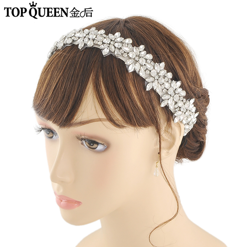 TOPQUEEN H269 Hot sale Stock 100% pure handmade with rhinestone headband Diamond accessories and handdress embroidered bridal