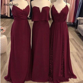 Simple Burgundy Chiffon Bridesmaid Dresses for Wedding Party A Line Straps V Neck Lace Up Bridemaids Dress