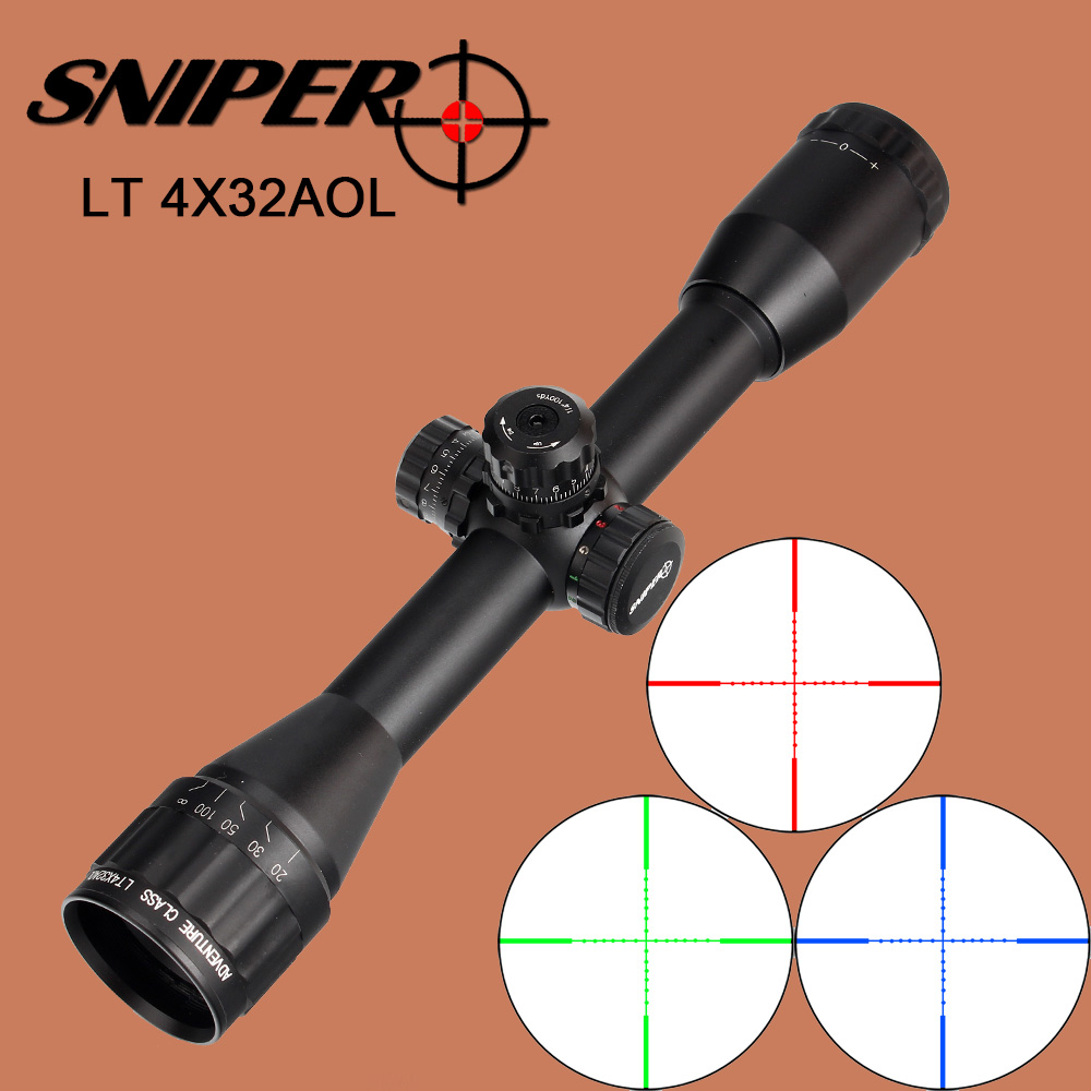 SNIPER LT 4X32AOL Hunting Riflescope 1 Inch Mil Dot Wire Reticle Red Green Blue Illumination for Tactical Optical Sights Scope метчики 1 4 32