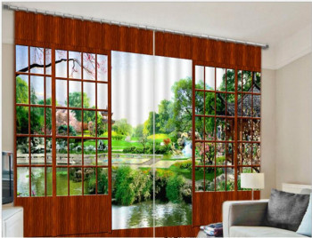 2017 Garden View Luxury 3D Curtains Drapes Custom Living room Bed room Window Curtains Office Hotel Home Wall Tapestry