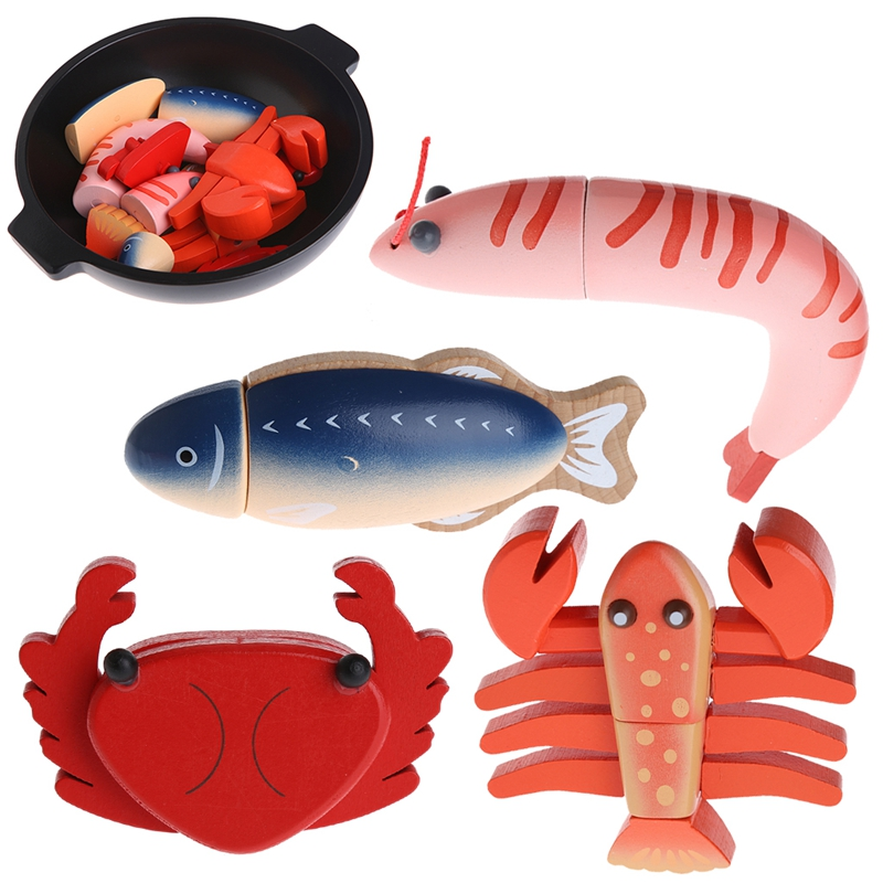 1Pc Wooden Cutting Sea Food Chopping Pretend Play Educational Toy Gift For Kid Baby Japan Shrimp/Lobster/Crucian/Crab