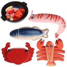 1pc corte de madeira mar alimentos cortar fingir jogar brinquedo educacional presente para o bebê do miúdo japão camarão/lagosta/crucian/caranguejo