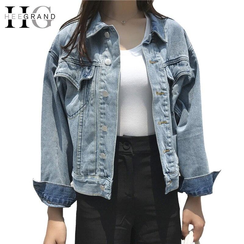 HEE GRAND 2018 femmes printemps Jean vestes lâche Denim veste solide décontracté Street manteau avec manches longues Oversize Outwear WWJ913