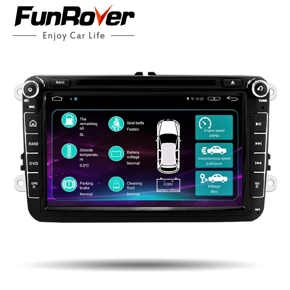 Funrover 2 Din Car DVD predvajalnik za VW Passat B6 5 Golf mk6 5 Polo Jetta Tiguan CC RNS 510 za skodaoctavia fabia miralink BT RDS