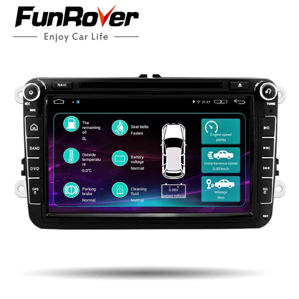 Funrover Android 2Din DVD Player Do Carro para VW Passat B6 Golf 5 RNS mk6 5 Polo Jetta Tiguan CC 510 para skodaoctavia fabia miralink