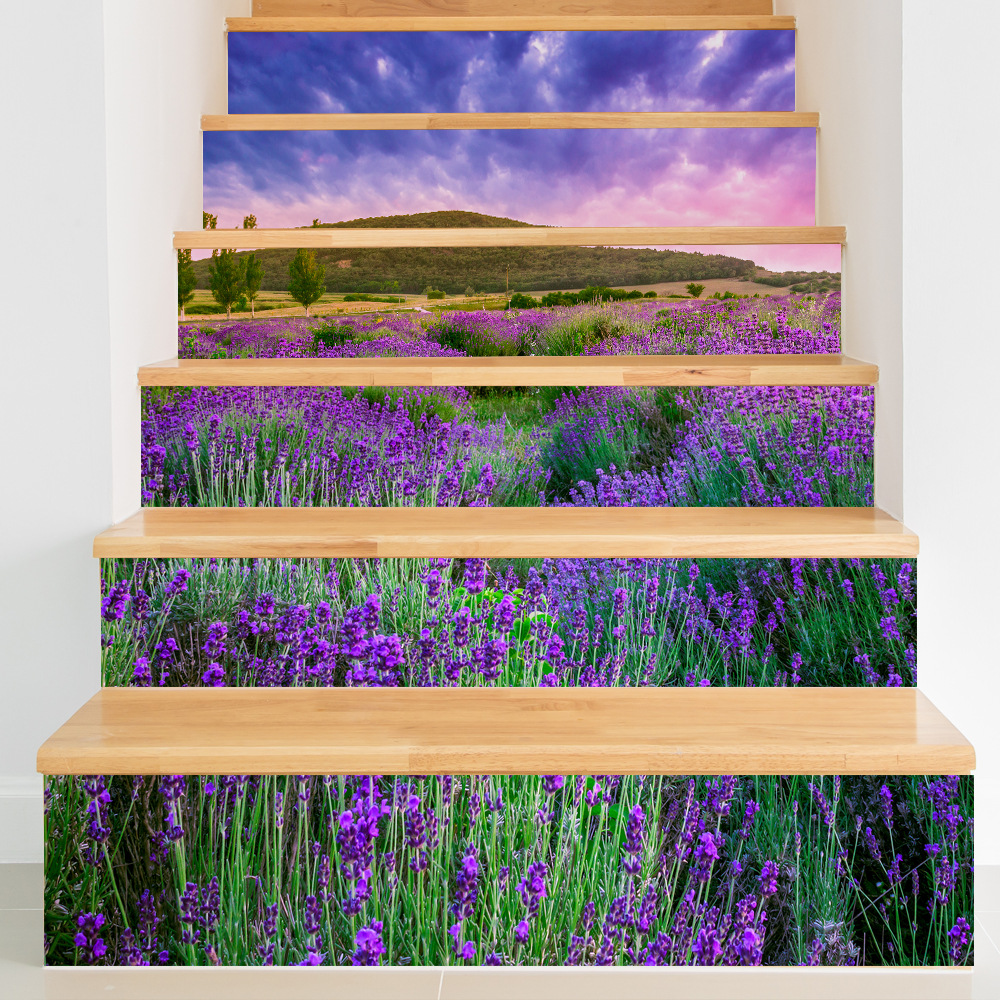 Free Shipping 3d Stairway Stickers Lavender Wall Imitation Pvc Home Stairs Accessories Wall Poster For Living Room 6pcs/set Excellent Quality Home & Garden Wall Stickers