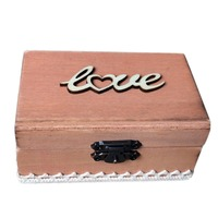 Wooden 3D Love L Bottom Lace Wrapping Iron Hook Ring Box Wedding Gift Boxes Beige Color