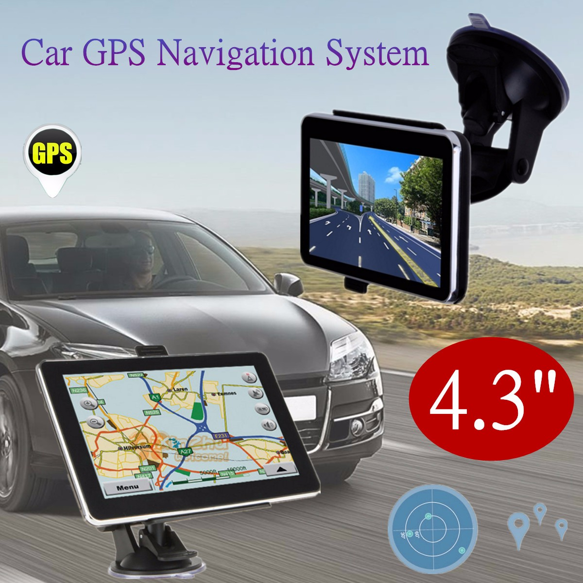 4.3 inch Car GPS Navigation 8GB MP3/MP4 Player Automobile Navigator FM Radio Europe & UK Free Map Vehicle gps Truck Map Sat Nav junsun 7 inch hd car gps navigation bluetooth avin capacitive screen fm 8gb vehicle truck gps europe sat nav lifetime map