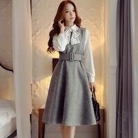 Оригинальные оригинальные женские шерсть платье бренд 2017 г. женские новые зимние корейские Темперамент Модный повседневный жилет платья