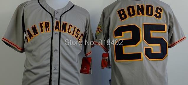 Free shipping-San Francisco Giants #25 Barry Bonds Grey jersey,Baseball star jerseys
